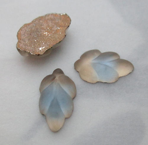 8 pcs. glass foiled frosted matte leaf smoky topaz and blue givre cabochons 10x6mm - f3779