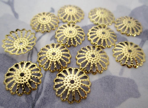 36 pcs. gold tone filigree flower bead caps 14mm - f4708