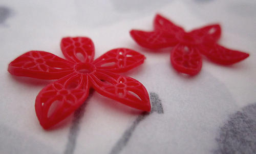 2 pcs. red rubber filigree flower findings or beads with rivet hole 23mm - f4711
