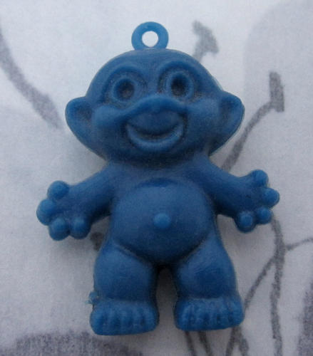 4 pcs. blue rubber troll pendant charm 26x23mm - f4792