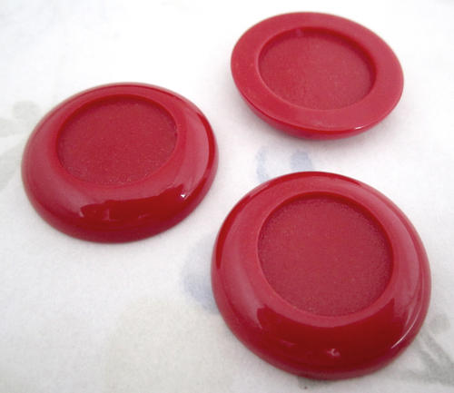 9 pcs. red plastic 30mm cabochons w 18mm recess cabochon setting - f4937
