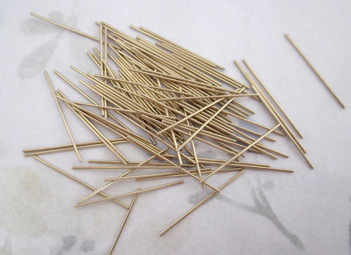 100 pcs. raw brass 22 gauge 27mm long wires - f4940
