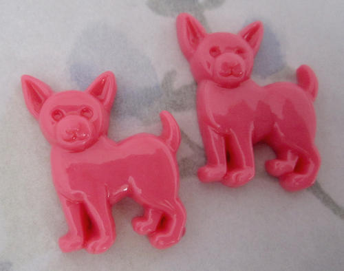 6 pcs. pink resin chihuahua dog flat back cabochons 24x21mm - f4962