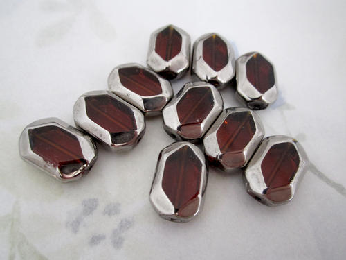 10 pcs. glass madeira topaz w silver plate edge octagon beads 16x11x6mm - f4965