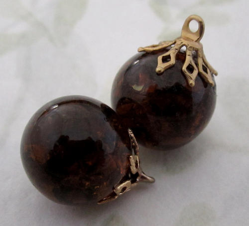 6 pcs. crackle glass brown smoky topaz charms 14mm - f5010