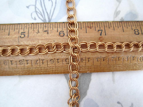 2 feet raw brass double loop curb chain 7mm wide - f5032