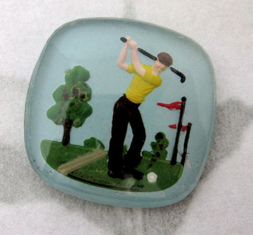 glass reverse painted intaglio golfer cabochon 21x21mm - f5115