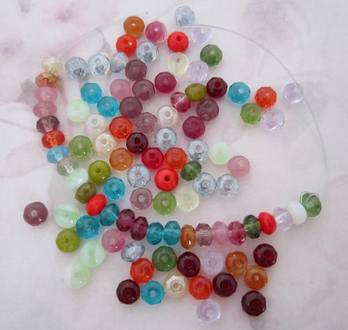 100 pcs. Czech glass assorted colors faceted beads 5x4mm - f5187