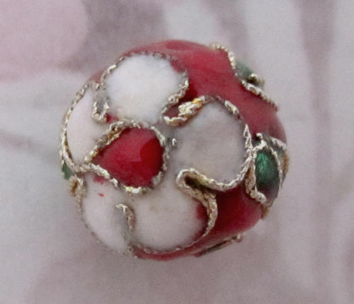 red enamel cloisonne flower bead 12mm - f5221