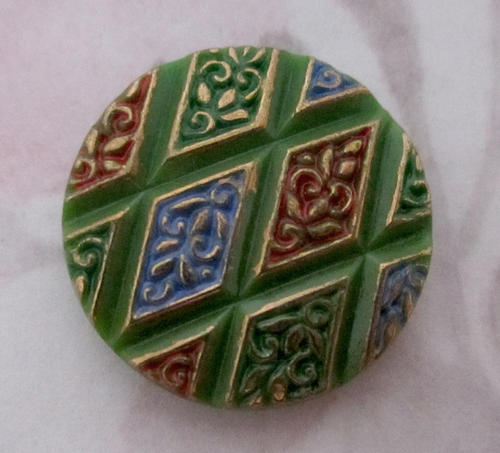 glass painted intaglio green harlequin flat back cabochon 18mm - f5223
