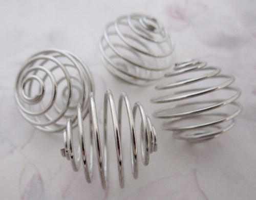 4 pcs. silver tone spring coil cage beads 20mm - f5358