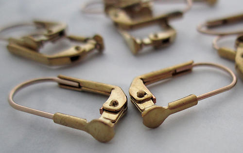 10 pcs. raw brass lever back earring findings w 3mm pad for gluing - f5398