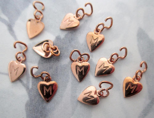 10 pcs. tiny gold plated brass heart charms with initial letter M for mine 8x7mm - f5469