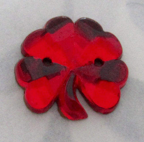 glass foiled red sew on jewel four leaf clover luck cabochon 15x13mm - f5503