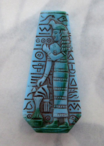 Czech glass painted intaglio Egyptian revival pharaoh hieroglyphics keystone rhinestone Nieger brothers jewelry 28x14mm - f5508
