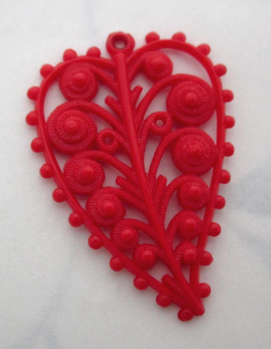 celluloid red filigree leaf charm 35x25mm - f5529