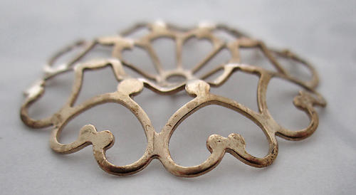 raw brass filigree stamping finding 35mm - f5535