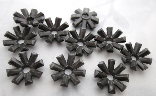 10 pcs. plastic hematite flower beads or rivet on findings 13mm - f5546
