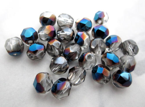 25 pcs. Czech glass black diamond grey w half blue iris AB fire polished faceted beads 6mm - f5550
