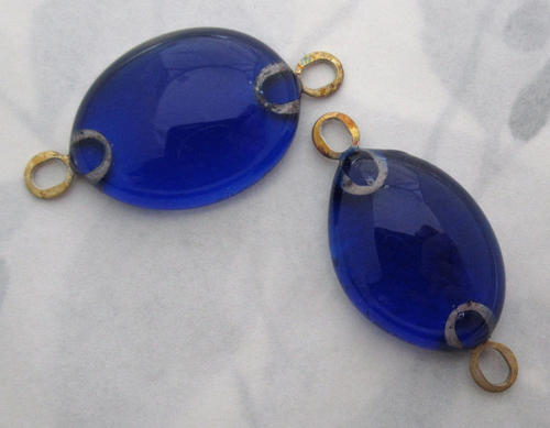 2 pcs. cobalt blue glass handmade connector charms - f5562