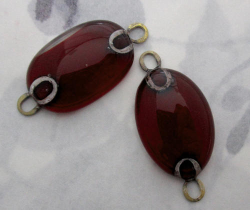 2 pcs. deep red glass handmade connector charms - f5566