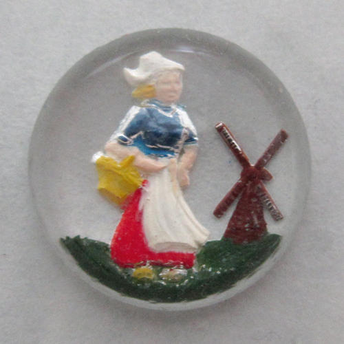 glass reverse painted intaglio cabochon dutch girl w windmill 13mm - f5573