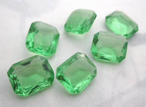 6 pcs. peridot green glass unfoiled fire polished octagon rhinestones 12x10mm - f5603