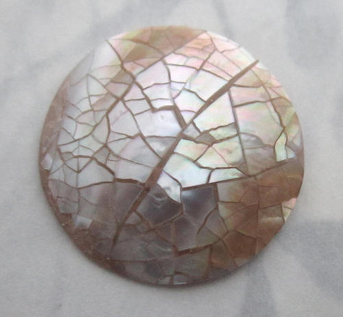 mother of pearl MOP shell mosaic flat back cabochon 25.5mm - f5622