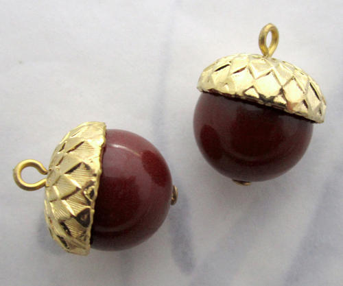 2 pcs. acorn bead drop charms 12mm - f5628