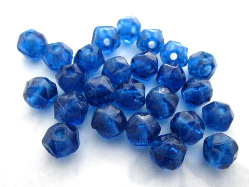 25 pcs. glass English cut Montana sapphire blue beads 6mm - f5631