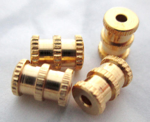 4 pcs. gold tone plated solid brass barrel beads 7x5mm - f5634