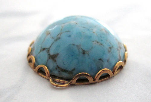 glass robins egg blue matrix connector charm 18mm - f5648