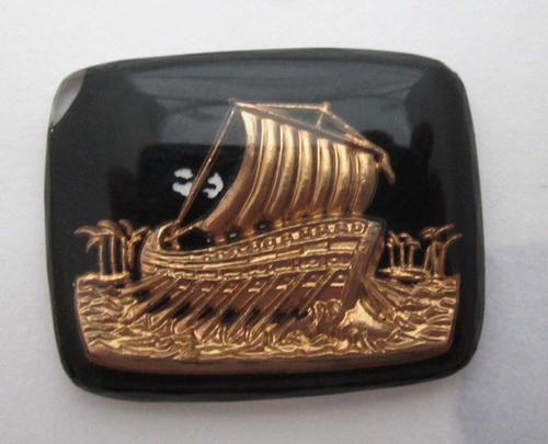 glass reverse painted intaglio Viking ship boat cabochon 27x20mm - f5690