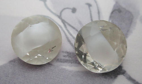 2 pcs. glass white givre faceted fire polished rhinestones 15mm - f5705