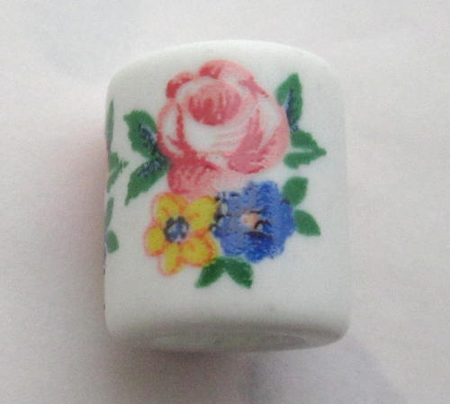 porcelain print flower macrame large hole bead 15x14mm - f5755