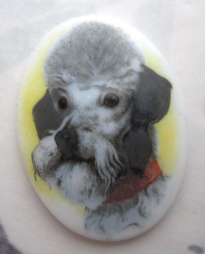 porcelain print poodle dog flat back cabochon 40x30mm - f5760