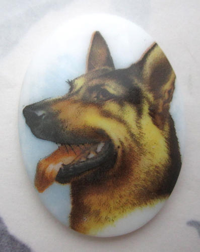 porcelain print German Shepherd dog flat back cabochon 40x30mm - f5762