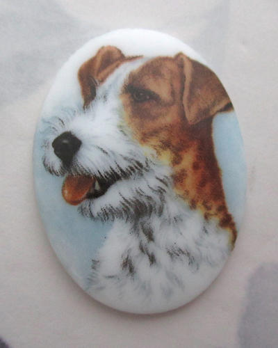 porcelain print terrier dog flat back cabochon 40x30mm - f5763