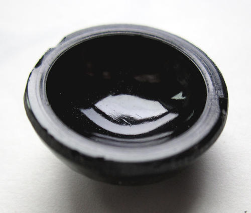 glass baroque textured onyx black hollow back cabochon 18mm - f5797