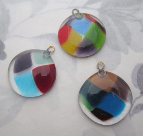 handmade glass harlequin multi colored flat back chunky pendant charm 32mm - f5802