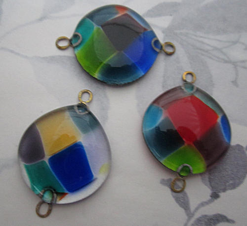 handmade glass harlequin multi colored flat back chunky connector charm 32mm - f5803