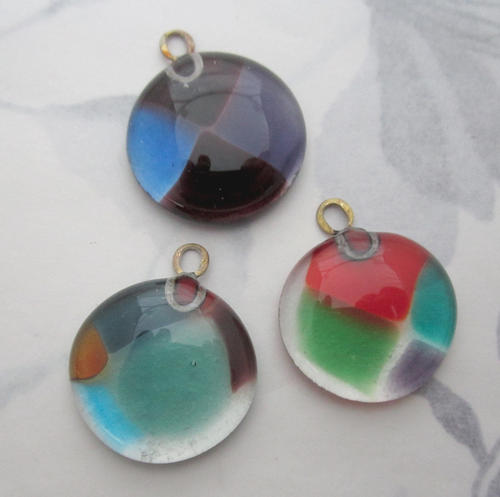 handmade glass harlequin multi colored flat back chunky pendant charm 24mm - f5804