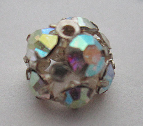 machine cut crystal AB prong set rhinestone bead cap or sew on dome cabochon 8mm wide - f5808