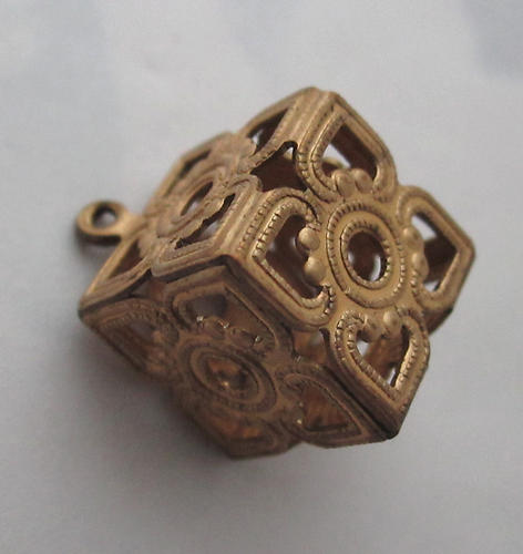 raw brass filigree flower cube charm 12mm - f5811