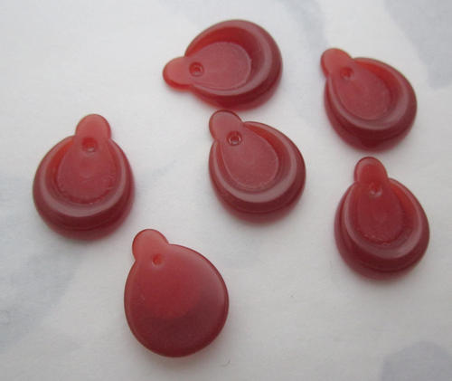 6 pcs. plastic carnelian charms w recess 16x12mm - f5813