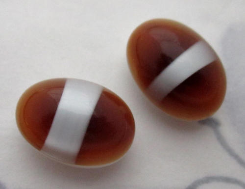 2 pcs. glass madeira topaz white stripe flat back cabochons 14x10mm - f5860