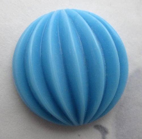 glass blue ridged melon hollow back cabochon 21mm - f5862