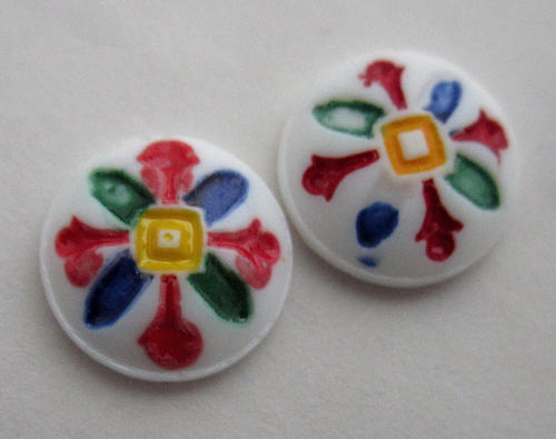 2 pcs. painted glass intaglio cabochons 10.5mm - f5865