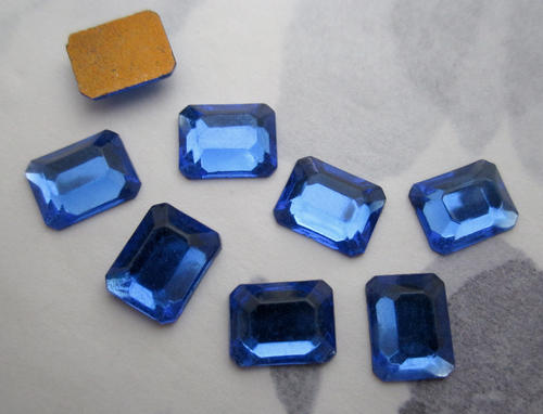 8 pcs. glass sapphire blue foiled octagon cabochons 10x8mm - f5899