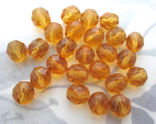 25 pcs. Czech glass fire polished faceted topaz beads 8mm - f5929